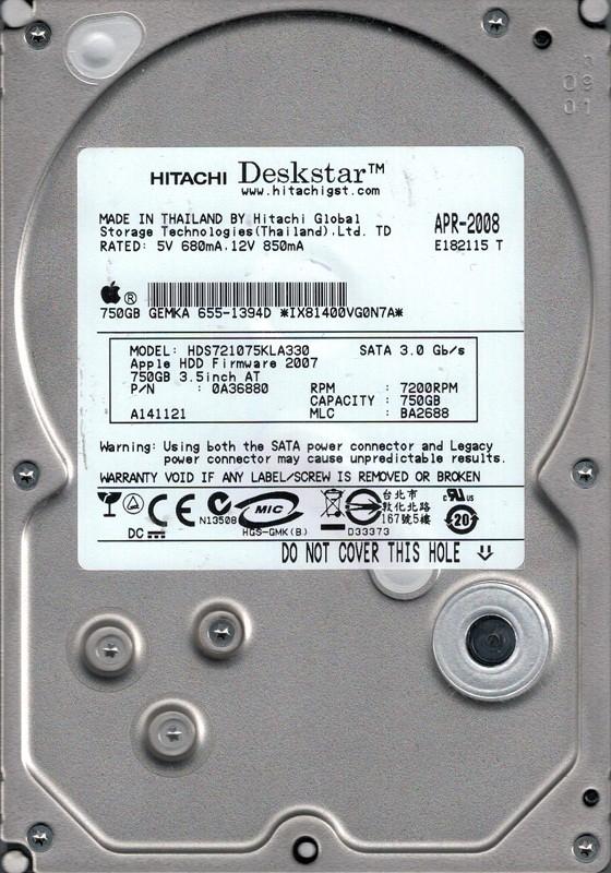 Hitachi HDS721075KLA330 P/N: 0A36880 MLC: BA2688 MAC 655-1394D 750GB