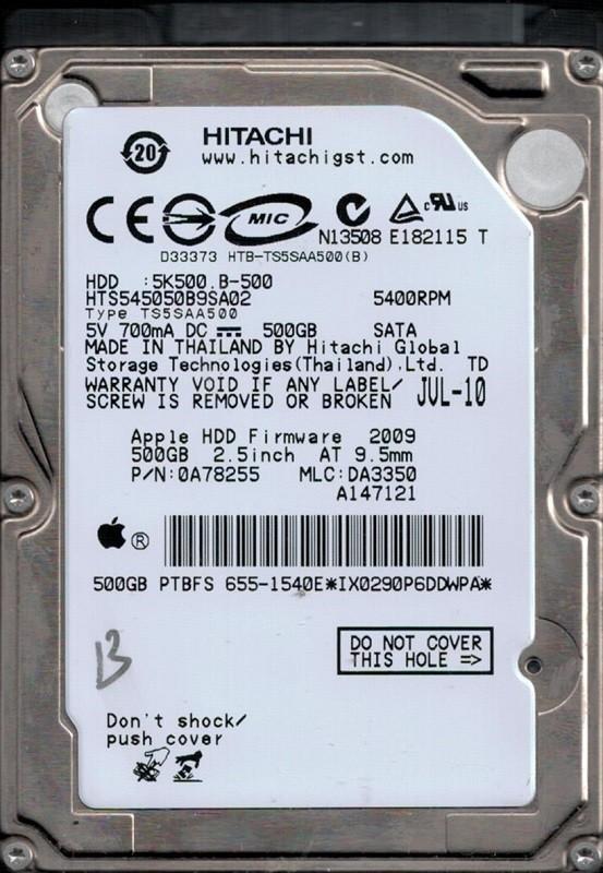 Hitachi HTS545050B9SA02 MLC: DA3350 P/N: 0A78255 Thailand 500GB MAC 655-1540E