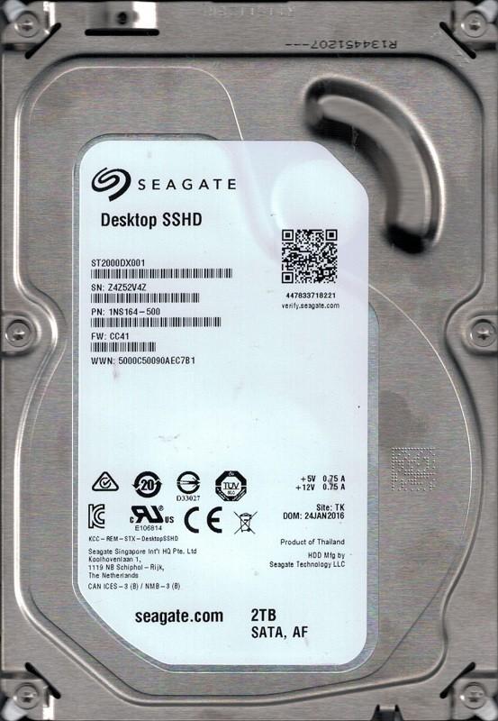 ST2000DX001 P/N: 1NS164-500 F/W: CC41 TK Z4Z Seagate 2TB Desktop SSHD