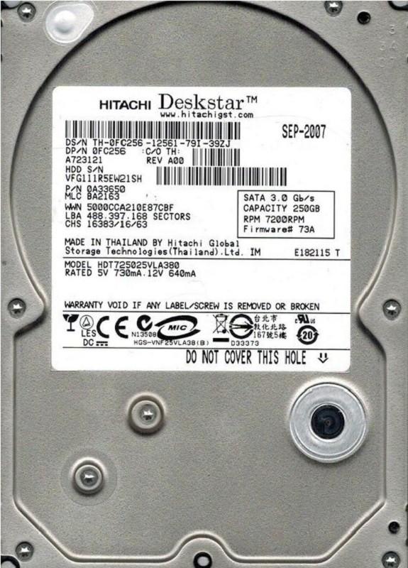 Hitachi HDT725025VLA380 P/N: 0A33650 MLC: BA2163 250GB