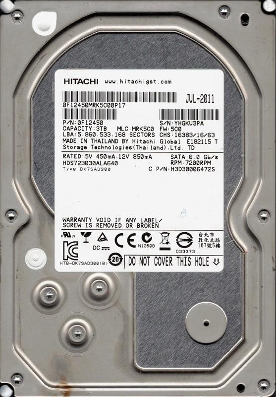 Hitachi HDS723030ALA640 P/N: 0F12450 MLC: MRK5C0 3TB