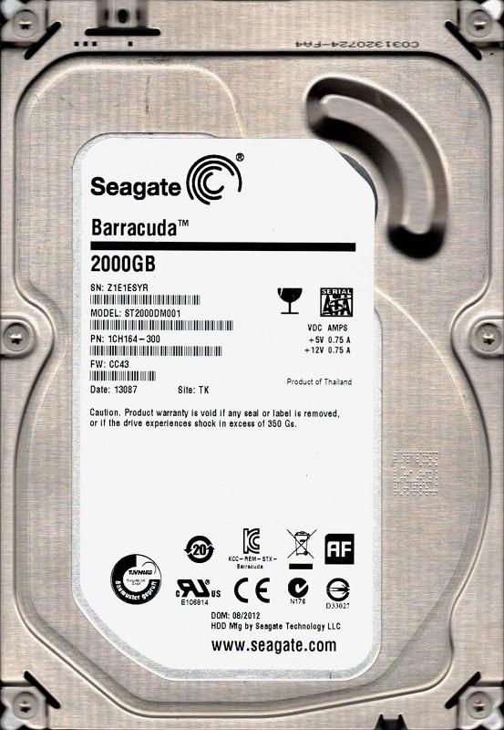 ST2000DM001 F/W: CC43 P/N: 1CH164-300 TK Z1E Seagate 2TB