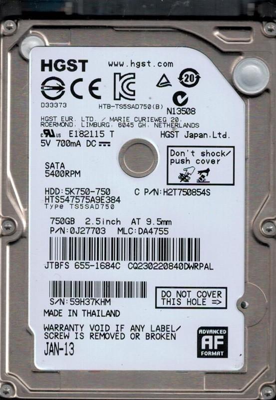 HTS547575A9E384 P/N: 0J27703 MLC: DA4755 MAC 655-1684C Thailand Hitachi 750GB