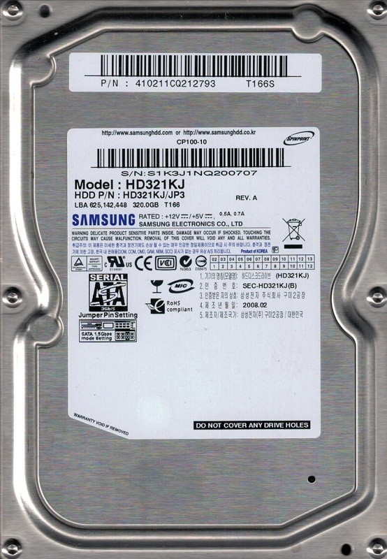 HD321KJ/JP3 P/N: 410211CQ212793 Samsung 320GB