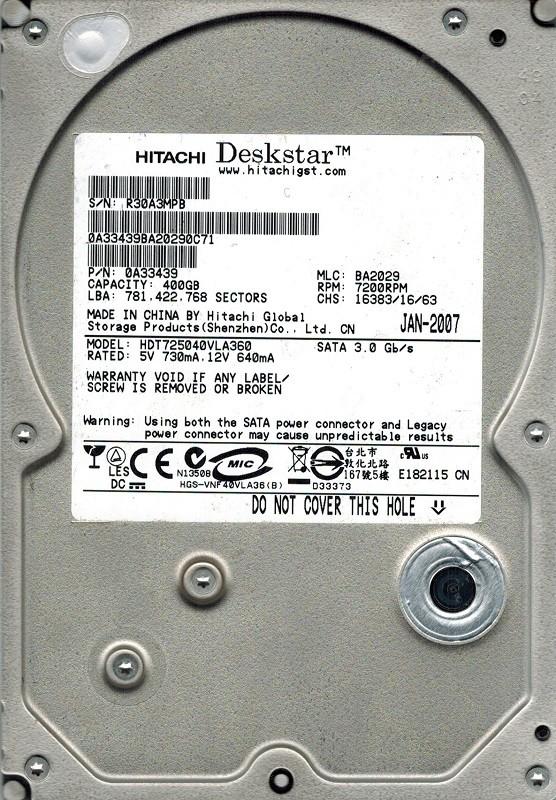 Hitachi HDT725040VLA360 P/N: 0A33439 MLC: BA2029 400GB