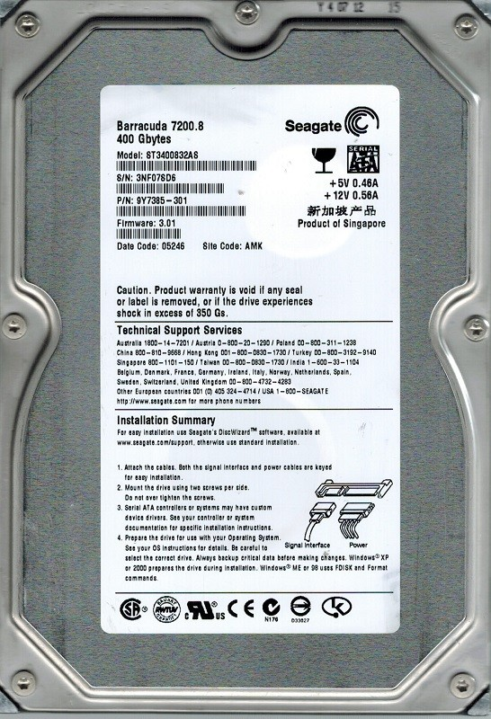 Seagate ST3400832AS P/N:  9Y7385-301 F/W: 3.01 400GB AMK