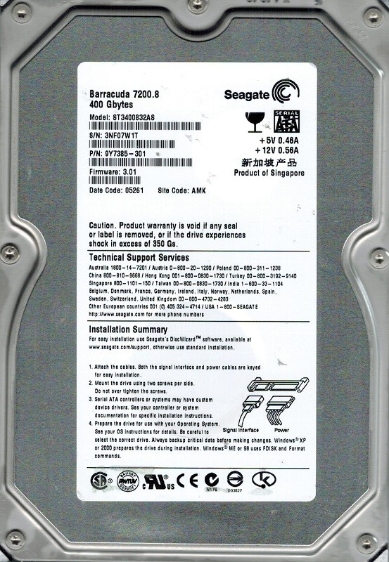 Seagate ST3400832AS P/N:  9Y7385-301 F/W: 3.01 AMK 400GB