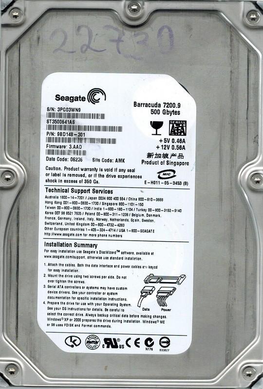Seagate ST3500641AS P/N: 9BD148-301 500GB F/W: 3.AAD AMK