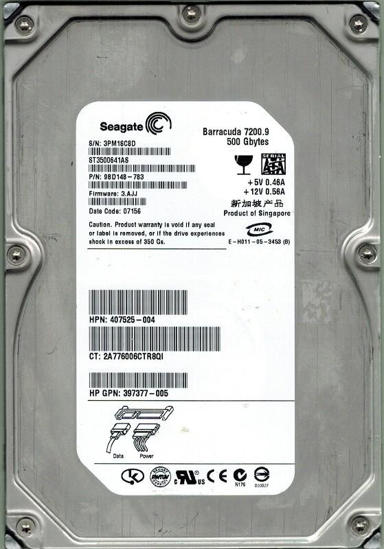 Seagate ST3500641AS P/N: 9BD148-783 500GB F/W: 3.AJJ