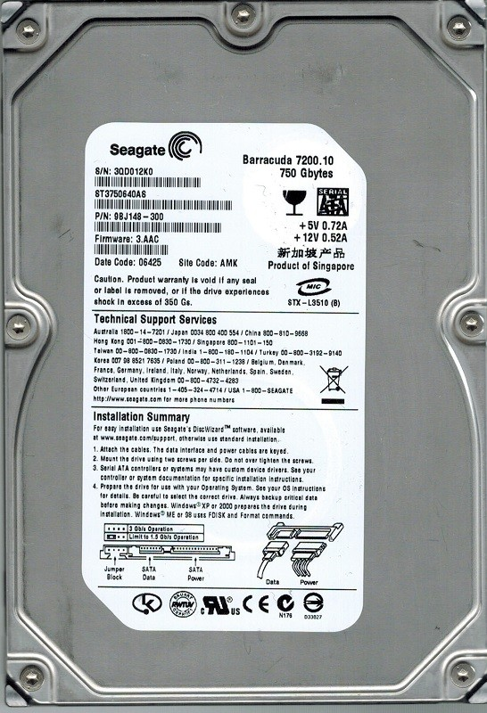 Seagate ST3750640AS P/N: 9BJ148-300 F/W: 3.AAC AMK 750GB