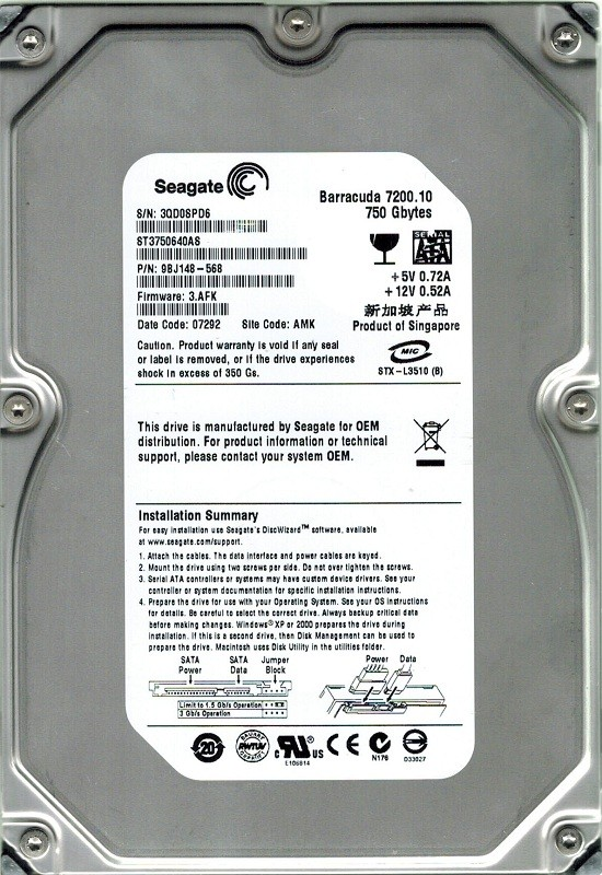 Seagate ST3750640AS 750GB P/N: 9BJ148-568 F/W: 3.AFK AMK