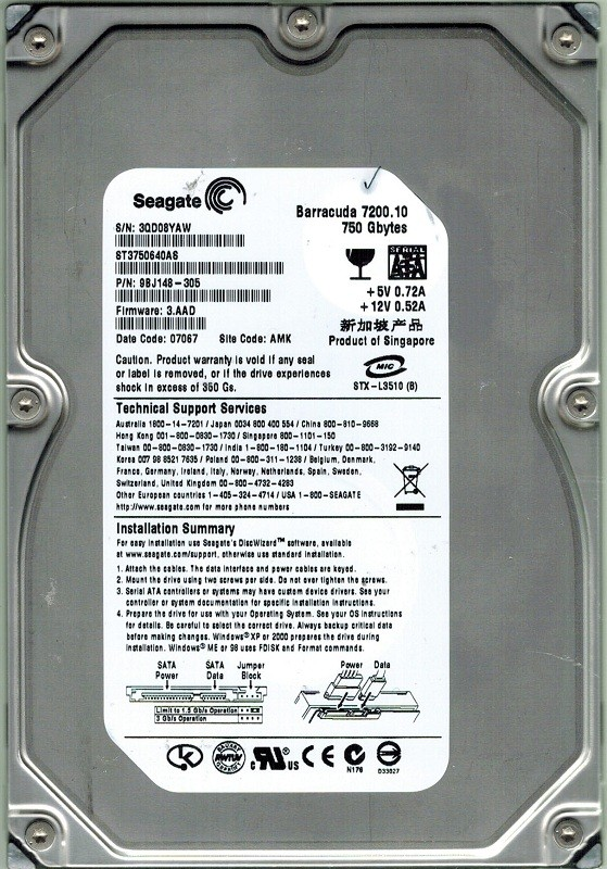 Seagate ST3750640AS 750GB P/N: 9BJ148-305 F/W: 3.AAD AMK