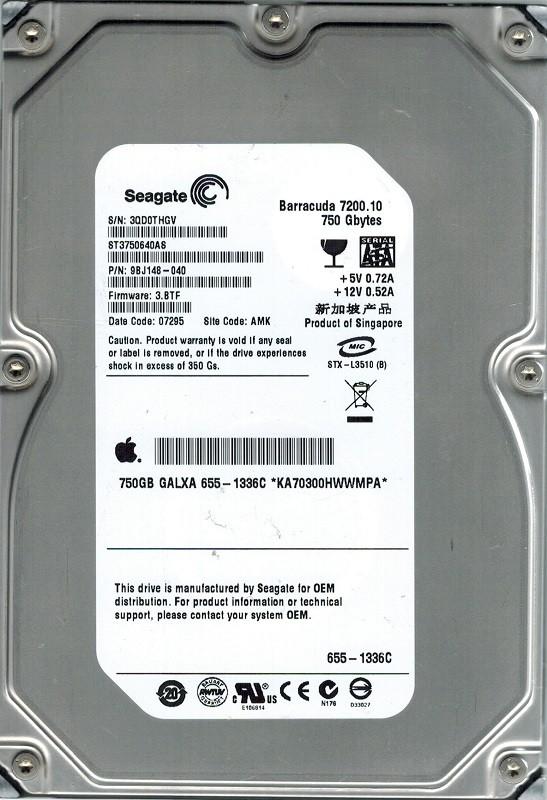 Seagate ST3750640AS P/N: 9BJ148-040 F/W: 3.BTF AMK 750GB