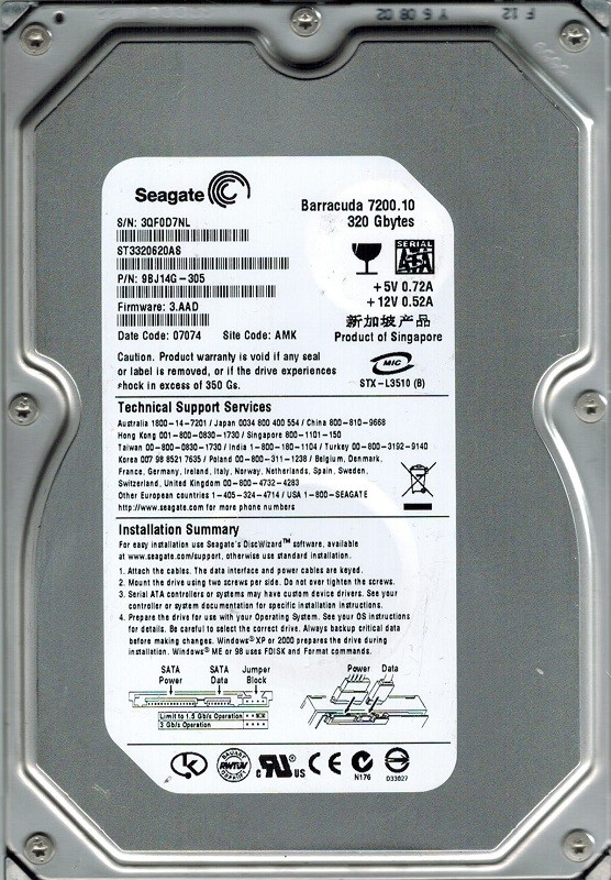 Seagate ST3320620AS P/N: 9BJ14G-305 F/W: 3.AAD AMK 320GB