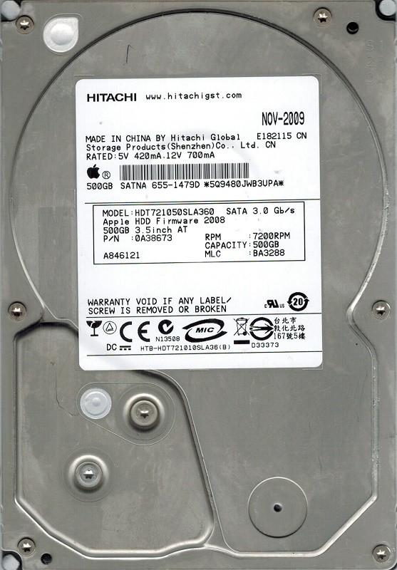 Hitachi HDT721050SLA360 P/N: 0A38673 MLC: BA3288 MAC 655-1479D 500GB
