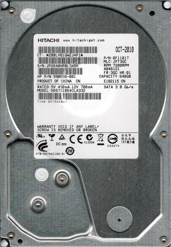 Hitachi HDS721064CLA332 640GB P/N: 0F11017 MLC: JPT3GC