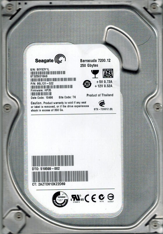 Seagate ST3250318AS P/N: 9SL131-022 F/W: HP35 250GB TK