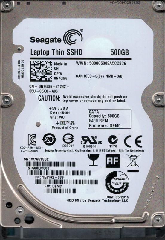 ST500LM000 P/N: 1EJ162-039 F/W: DEMC WU W76 Seagate 500GB
