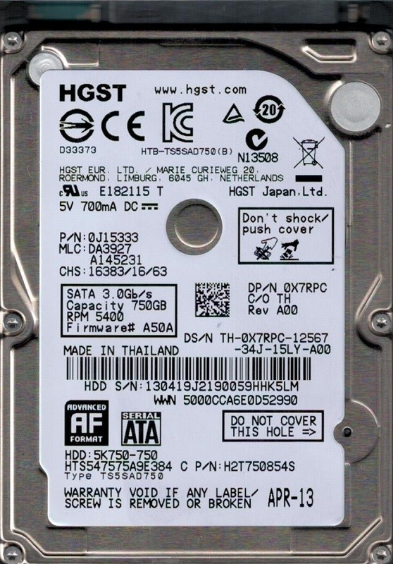 Hitachi HTS547575A9E384 P/N: 0J15333 MLC: DA3927 750GB