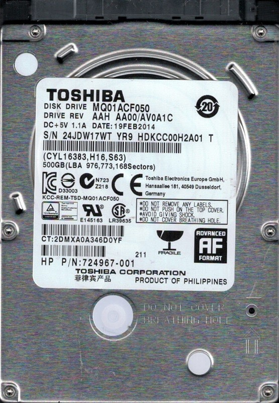 MQ01ACF050 AAH AA00/AV0A1C Toshiba 500GB Laptop Hard Drive