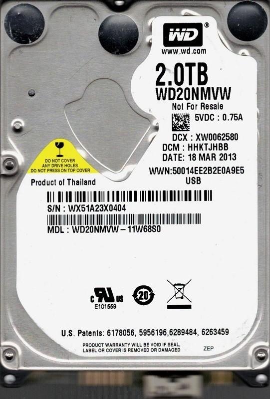 Western Digital WD20NMVW-11W68S0 USB 3.0 2TB DCM: HHKTJHBB