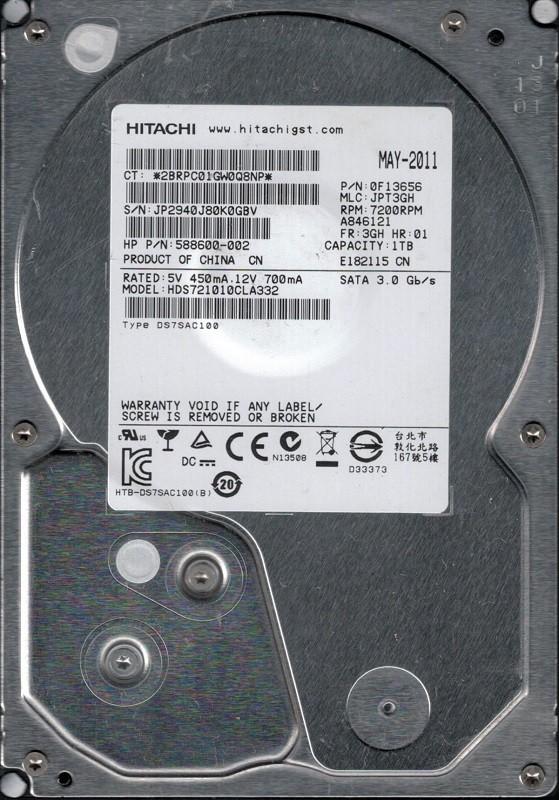 Hitachi HDS721010CLA332 P/N: 0F13656 1TB MLC: JPT3GH