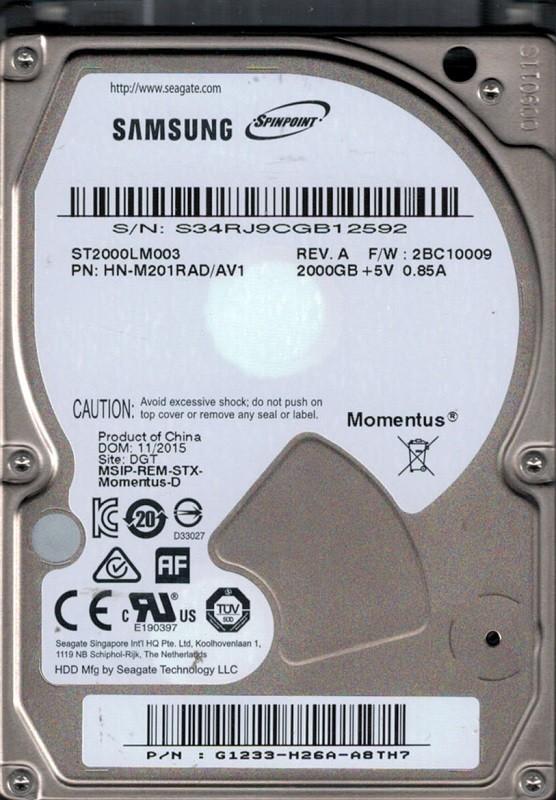 ST2000LM003 P/N: HN-M201RAD/AV1 F/W: 2BC10009 Samsung 2TB