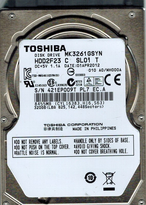 Toshiba MK3261GSYN HDD2F23 D UF01 T F//W MH000D 320GB Philippines