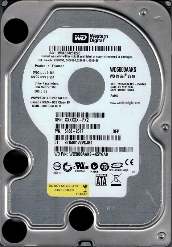 Western Digital WD5000AAKS-65YGA0 500GB DCM: HARCHT2CAB