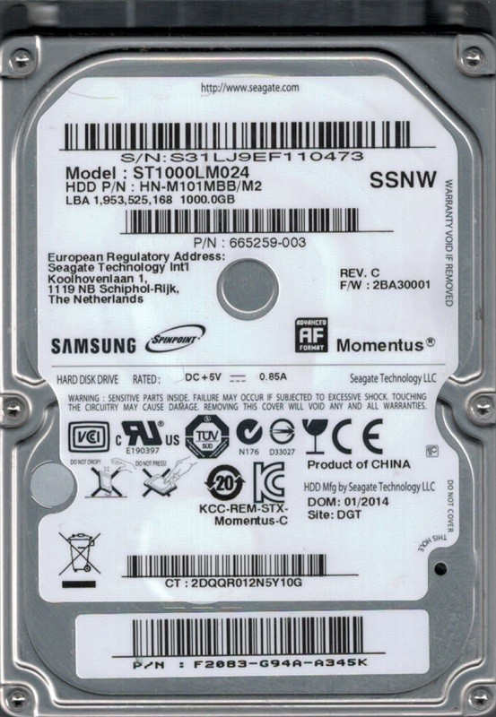 ST1000LM024 P/N: HN-M101MBB/M2 F/W: 2BA30001 Samsung 1TB SSNW