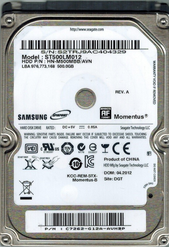 Samsung ST500LM012 HN-M500MBB/AVN P/N: C7262-G12A-AUHBP F/W: 2AR1001