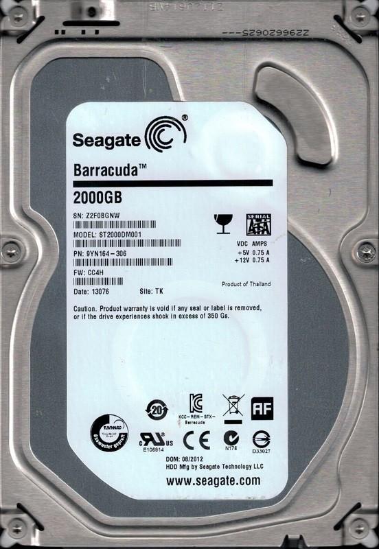 Seagate ST2000DM001 P/N: 9YN164-306 F/W: CC4H 2TB TK Z2F