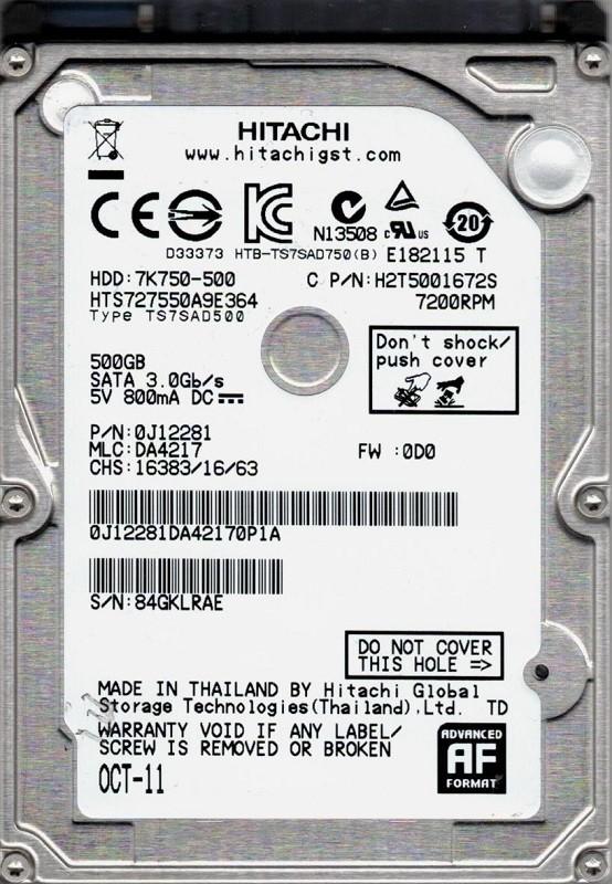 Hitachi HTS727550A9E364 P/N: 0J12281 MLC: DA4217 500GB