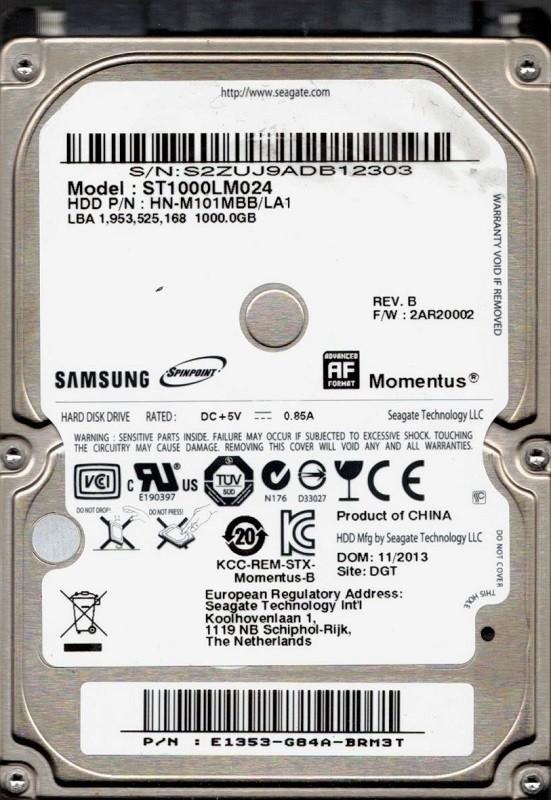 ST1000LM024 HN-M101MBB/LA1 F/W: 2AR20002 Samsung 1TB