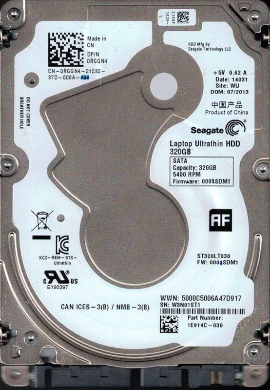 ST320LT030 P/N: 1E914C-030 F/W: 0001SDM1 WU W3N Seagate 320GB