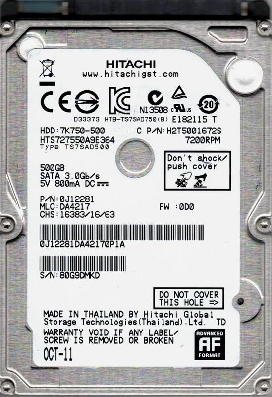 Hitachi HTS727550A9E364 P/N: 0J12281 MLC: DA4217 Thailand 500GB