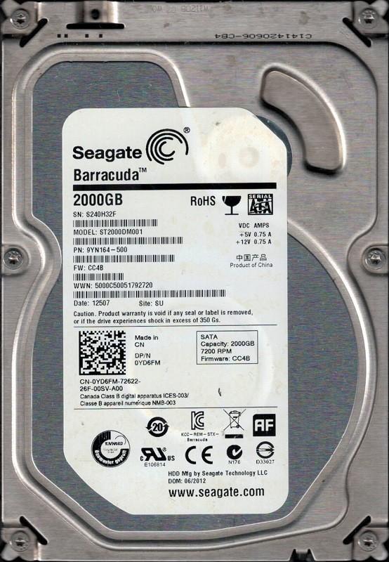 ST2000DM001 P/N: 9YN164-500 F/W: CC4B SU S24 Seagate 2TB