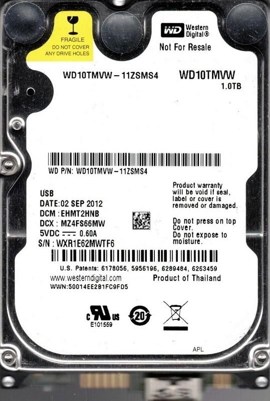 Western Digital WD10TMVW-11ZSMS4 USB 3.0 1TB DCM: EHMT2HNB