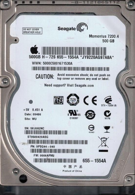 ST9500420ASG P/N: 9PSG44-040 F/W: 0006APM2 WU MAC 655-1554A Seagate 500GB