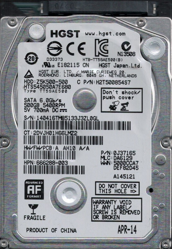 HTS545050A7E680 P/N: 0J37165 MLC: DA6129 China HGST 500GB