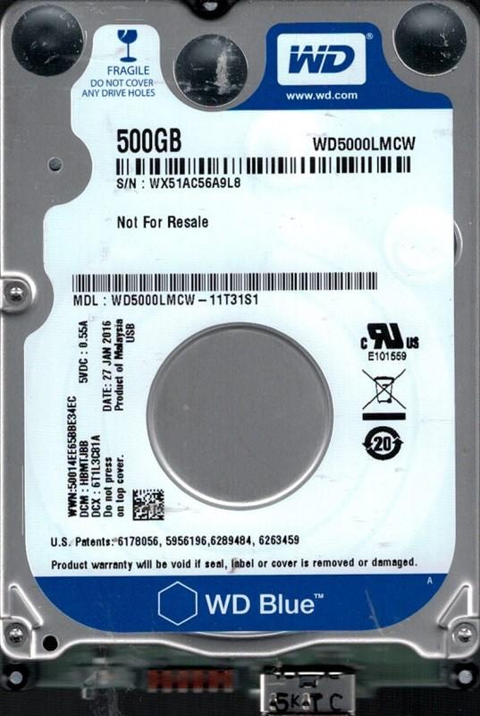 WD5000LMCW-11T31S1 DCM: HBMTJBB WX51A Western Digital 500GB