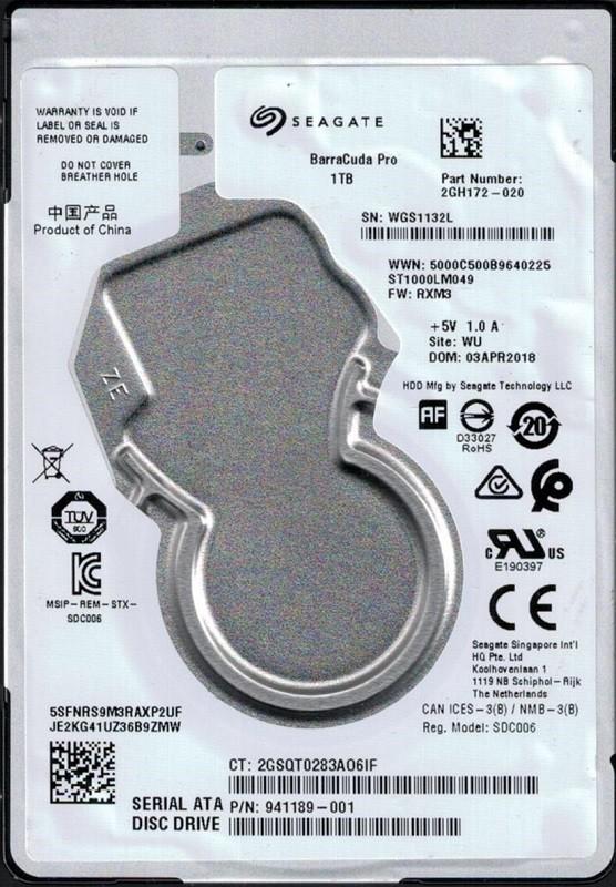 ST1000LM049 P/N: 2GH172-020 F/W: RXM3 WU WGS Seagate BarraCuda Pro 1TB