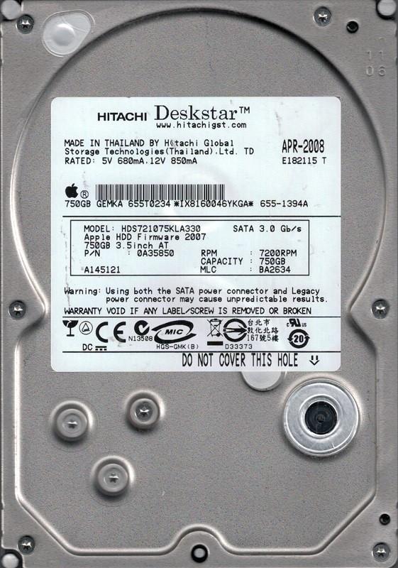 Hitachi HDS721075KLA330 MAC P/N: 0A35850 750GB MLC: BA2634 MAC 655-1394A