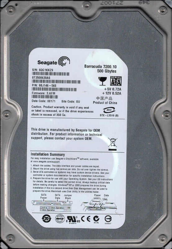 Seagate ST3500630AS P/N: 9BJ146-568 F/W: 3.AFM 500GB SU 6QG