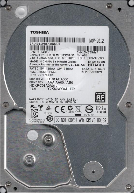 Toshiba HDS723030BLE640 P/N: 9F14312 MLC: MRSAB0 3TB Hitachi
