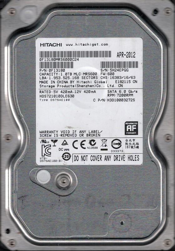 Hitachi HDS721010DLE630 MLC: MRS600 P/N: 0F13180 1TB