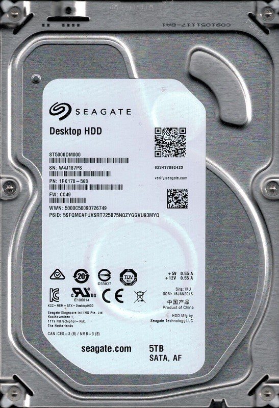 ST5000DM000 P/N: 1FK178-568 F/W: CC49 WU W4J Seagate 5TB Desktop HDD