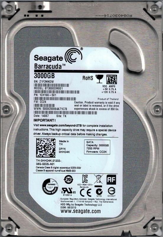 Seagate ST3000DM001 P/N: 1CH166-501 F/W: CC24 3TB TK