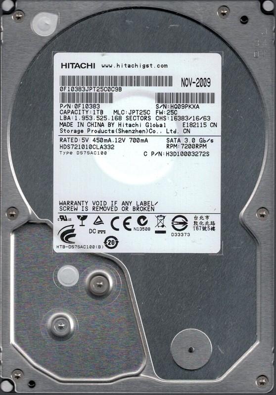 Hitachi HDS721010CLA332 P/N: 0F10383 MLC: JPT25C 1TB Hard Drive