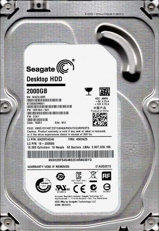 ST2000DM001 P/N: 1ER164-541 F/W: CC61 WU W4Z Seagate 2TB